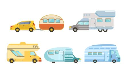 Collection of Camper or Commercial Trailers, Trailering, Camping, Outdoor Adventures Vector Illustration Banque d'images - 129699288
