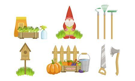 Garden Tools Set, Gardening Equipment and Decoration Elements Vector Illustration