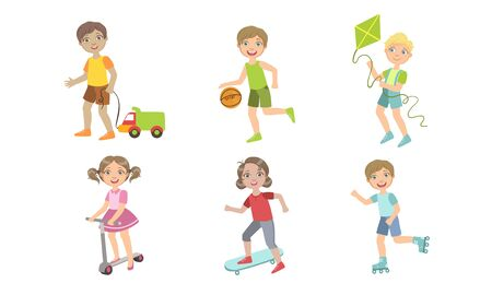 Kids Summer Outdoor Activities Set, Cute Boys and Girls Doing Sports, and Playing Vector Illustration Illustration