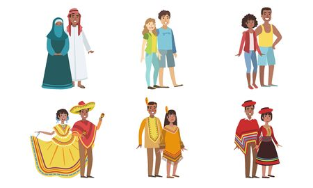 Men and Women Dressed Folk Costumes of Various Countries Set, Peru, Ameican Indian, USA, Mexico, UAE Vector Illustration