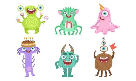 Cute Happy Monsters Set, Funny Friendly Cartoon Mutant Characters, Childish Birthday Party Design Elements Vector Illustration