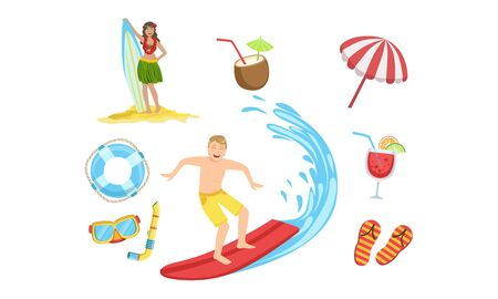 Summertime Sports Activities and Hobbies Set, People Relaxing on Summer Vacation Vector Illustration 向量圖像