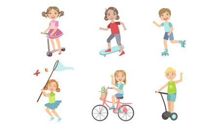 Kids Summer Outdoor Activities Set, Cute Boys and Girls Riding Bike, Rollers, Kick Scooter, Skateboard, Hovercraft, Catching Butterfly with Net Vector Illustration