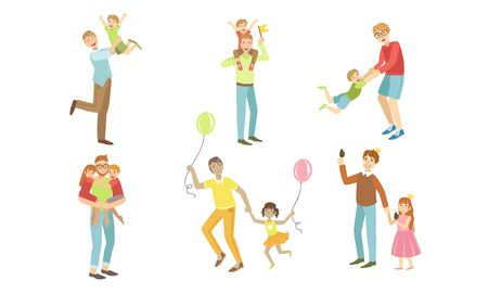 Fathers and Their Kids Having Good Time Together Set, Dads Playing, Walking, Having Fun with Their Children Vector Illustration
