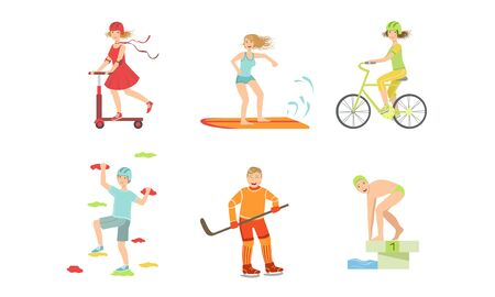 People Doing Different Kinds of Sports Set, Surfboarder, Cyclist, Climber, Hockey Player, Swimmer, Girl Riding Kick Scooter Vector Illustration