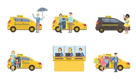 Taxi Service Set, Taxi Driver in Yellow Car and Passengers, Customers Catching Cab, Call Operator Support Service, Mobile Assistance Vector Illustration Banque d'images - 129699320
