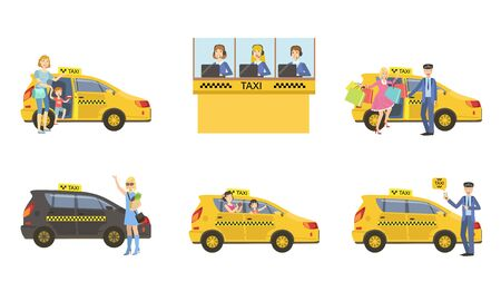 Taxi Service Set, Taxi Driver in Yellow Car and Passengers, Customers Catching Cab, Call Operator Support Service Vector Illustration Banque d'images - 129699322