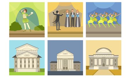 Opera or Theater Building Facade Set, Actors Performing on Stage, Concert, Opera, Singer Musicians and Conductor Vector Illustration