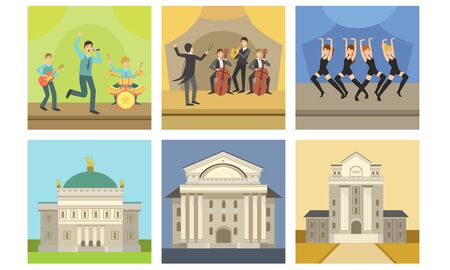 Opera or Theater Building Facade Set, Singers and Musicians Performing on Stage Vector Illustration