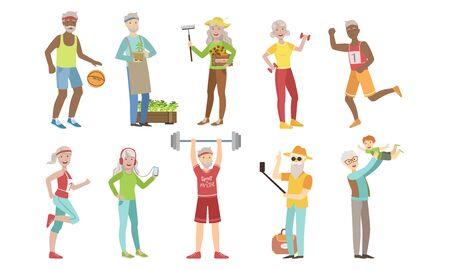 Set di attività e hobby per persone anziane, stile di vita sano e attivo di uomini e donne anziani allegri Vector Illustration