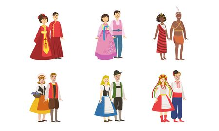 Men and Women Dressed Folk Costumes of Various Countries Set, Denmark, Ukraine, Finland, China, Korea, Ethiopia Vector Illustration