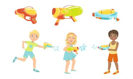 Kids Playing with Water Guns Set, Colorful Water Pistols, Toy Weapon Vector Illustration 向量圖像