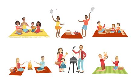 Families Having Picnic In Park Set, People Eating and Relaxing, Cheerful Family Couples and Kids Spending Time Together Vector Illustration