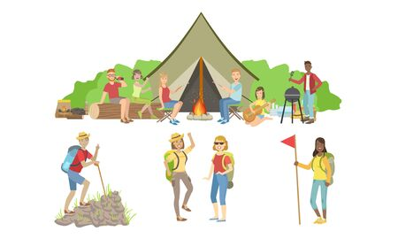 People Characters Having Picnic and Hiking Outdoors Set, Happy Travelers on Summer Vacation Vector Illustration