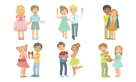 Cute Teenage Couples Set, Happy Boys and Girls Having Good Time Together Vector Illustration
