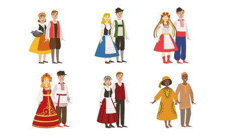 Hombres y mujeres vestidos con trajes populares de varios países, Dinamarca, Ucrania, Rusia, Alemania, Finlandia, Nigeria ilustración vectorial