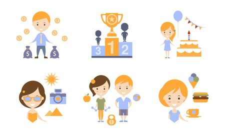 Happy Family Modern Lifestyle Icons Set, Travel, Healthy Lifestyle, Business Flat Vector Illustration