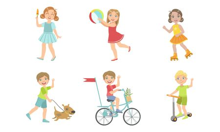 Kids Summer Outdoor Activities Set, Cute Boys and Girls Walking with Dog, Eating ice cream, Doing Sports, Playing Ball Vector Illustration