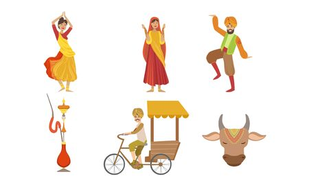 Indian People in Traditional Clothing Symbols of Country Set, Rickshaw, Sacred Cow and Indian People in Traditional Clothing Vector Illustration Vetores