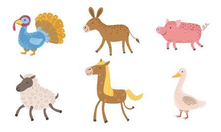 Cute Farm Animals Set, Turkey, Sheep, Donkey, Pig, Horse, Goose Vector Illustration Illustration