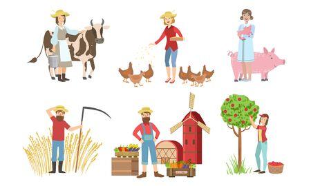 Personnes travaillant sur l'ensemble de la ferme et du jardin, personnages d'agriculteurs masculins et féminins récoltant, nourrissant les animaux, vendant des légumes sur l'illustration vectorielle du marché agricole Vecteurs