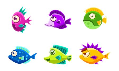 Cute Colorful Little Glossy Fishes Set, Funny Big Eyed Sea Animals Cartoon Characters Vector Illustration on White Background. Illusztráció