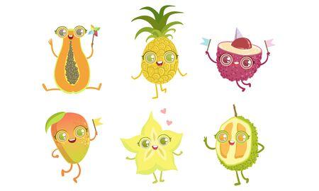 Funny Tropical Fruit Characters Set, Papaya, Pineapple, Lychee, Mango, Carambola, Durian, Vector Illustration Ilustrace