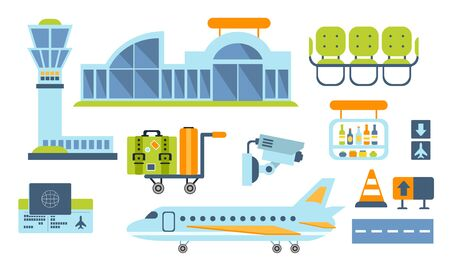 Airport Design Elements Set, Airport Terminal, Airplane, Waiting Room Vector Illustration  イラスト・ベクター素材