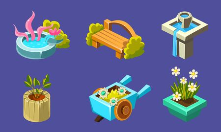 Fantasy Landscape Elements Set, Well, Bench, Waterfall, Flowerbed, Wheelbarrow, User Interface Assets for Mobile App or Video Game Vector Illustration