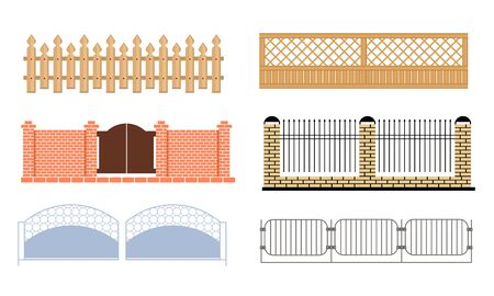 Decorative Fences Set, Wooden, Wrought Iron, Brick Fences Vector Illustration on White Background. Иллюстрация