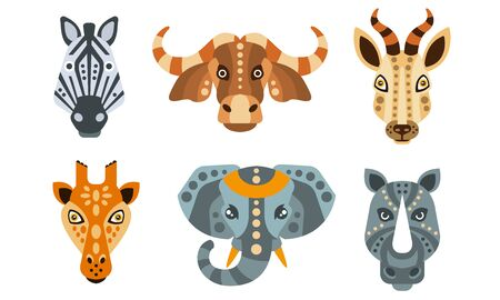 Collection of Animal Heads with Tribal Ethnic Ornament, Zebra, Buffalo, Antelope, Giraffe, Elephant, Rhino Vector Illustration on White Background. Illustration