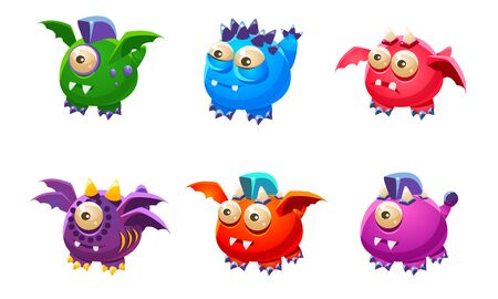 Cute Colorful Little Glossy Fantastic Monsters Set, Funny Big Eyed Mutants Cartoon Characters Vector Illustration
