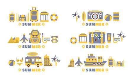Summer Travel Badges Set, Summertime Holidays, Vacation Labels Flat Vector Illustration Vetores