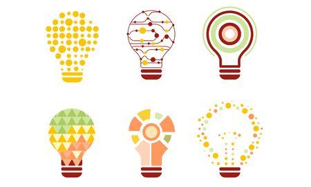 Light Bulbs Abstract Design with Colorful Geometric Elements, Modern Digital Technology, Creative Idea Vector Illustration Ilustração