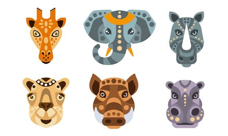 Collection of Animal Heads with Tribal Ethnic Ornament, Giraffe, Elephant, Rhino, Camel, Wild Boar, Hippo Vector Illustration 일러스트