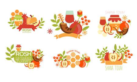 Shana Tova Labels Set, Rosh Hashanah Jewish Holiday Banner, Poster, Badge Design Elements Vector Illustration