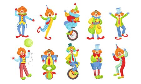 Collection of Happy Funny Clowns in Action Poses, Funny Circus Comedian Characters in Costumes Vector Illustration