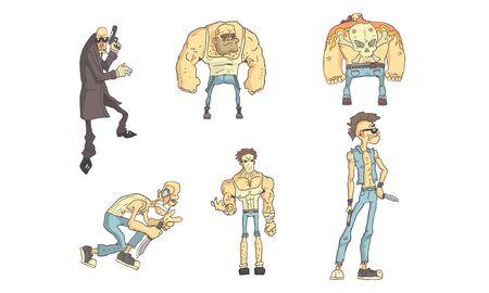 Ensemble de personnages drôles de criminels, cambrioleurs, meurtriers et voleurs avec différentes armes dans leurs mains Illustration vectorielle