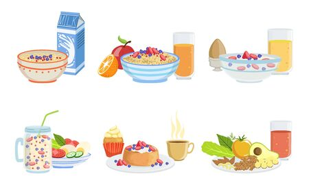 Healthy Breakfast Dishes Set, Classical Menu with Muesli, Oatmeal, Smoothie, Pancakes, Fruits, Vegetables and Berries Vector Illustration 版權商用圖片 - 129699696