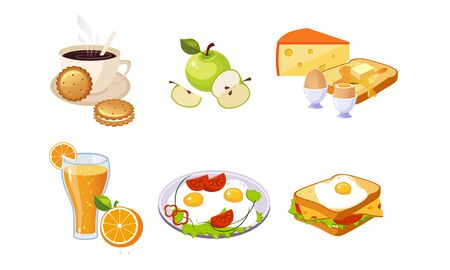 Collection of Breakfast Meal, Healthy Food and Drinks Different Sets Vector Illustration