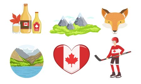 Canada Traditional Symbols and Attractions Set, Travel to Canada Vector Illustration