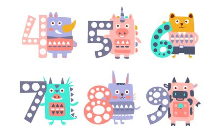 Cute Kids Anniversary Numbers with Animals, Rhino, Unicorn, Bear, Dragon, Rabbit, Cow Vector Illustration