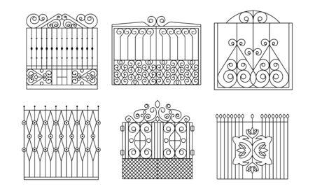 Dekoratives schmiedeeisernes Tor-Set, Vintage-Zäune mit Wirbel-Vektor-Illustration