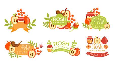 Shana Tova Colorful Labels Set, Rosh Hashanah Jewish Holiday Banner, Poster, Badge Design Elements Vector Illustration
