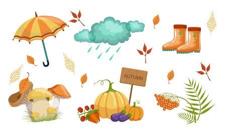 Autumn Season Objects Collection, Autumnal Design Elements, Umbrella, Rainy Cloud, Rubber Boots, Mushrooms, Vegetables, Mountain Ash Leaves Vector Illustration