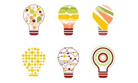 Light Bulbs Abstract Design with Geometric Elements, Modern Digital Technology, Creative Idea Vector Illustration