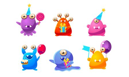 Collection of Cute Funny Colorful Monsters Cartoon Characters, Happy Mutants Celebrating Party Vector Illustration