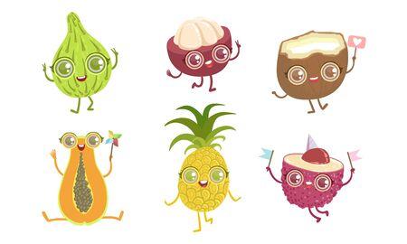 Funny Tropical Fruit Characters Set, Papaya, Pineapple, Lychee, Coconut, Mangosteen, Guava Vector Illustration