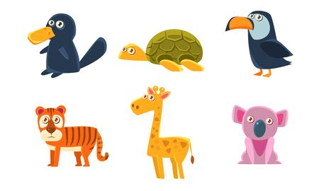 Collection of Cute Exotic Animals, Tiger, Giraffe, Koala, Platypus, Turtle, Toucan Vector Illustration 일러스트