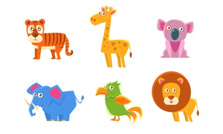 Collection of Cute Exotic Animals, Tiger, Giraffe, Koala, Elephant, Parrot, Lion Vector Illustration